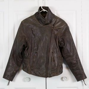 UNIK Brown Leather Removable Lining Moto Jacket XL